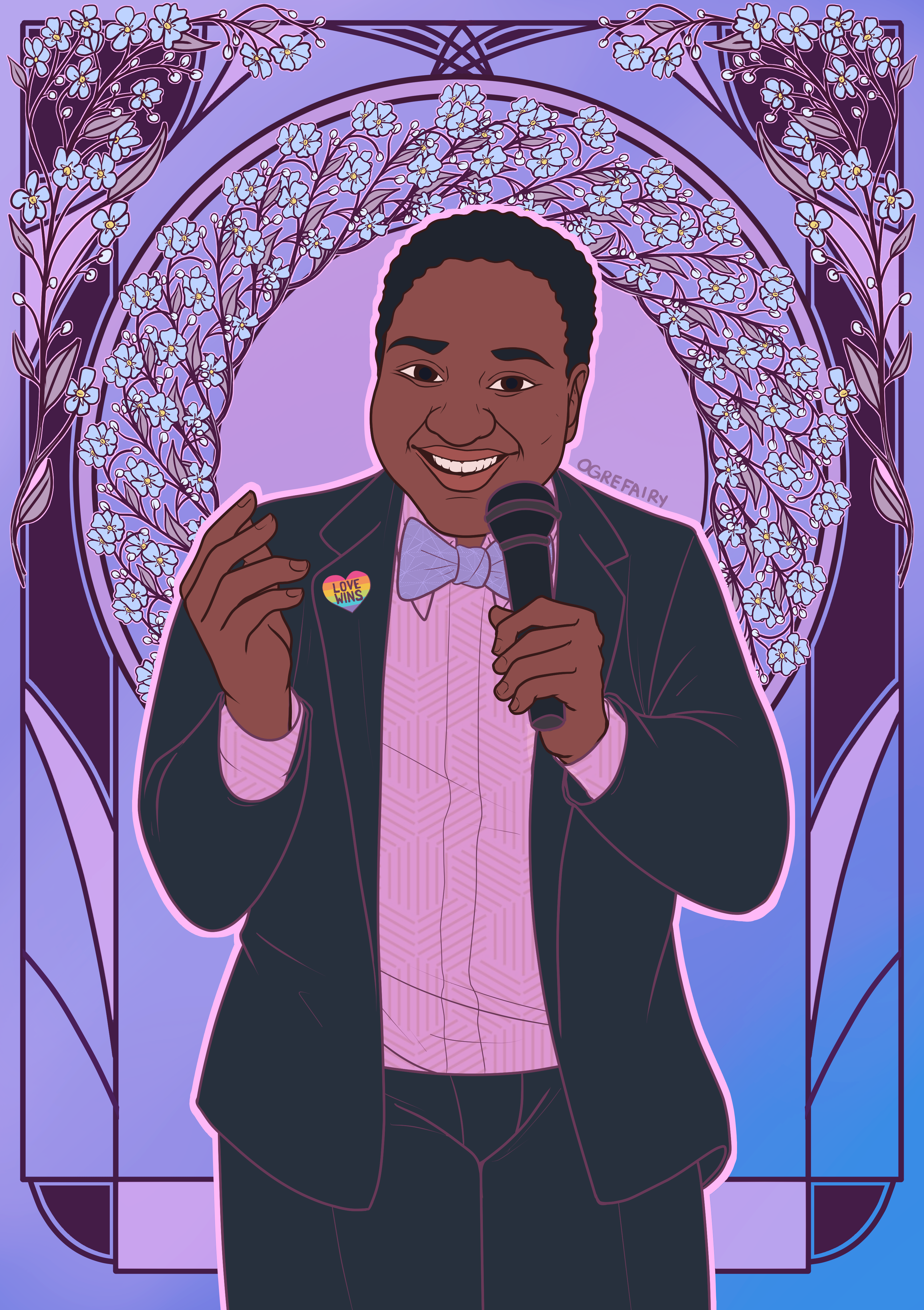"A cartoon of Ki'Tay, a black, disabled Trans man, wearing a suit and bow tie, and a Pride pin in the shape of a rainbow heart with the words, ""LOVE WINS"" on it. He is smiling while holding a microphone. He is surrounded by a floral ring that arches from his left shoulder over his head to his right shoulder. With a purple and blue background and more decorative flowers."